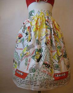 rare vintage 40s 50s california souvenir travel skirt. novelty New Look Fashion, 40s Fashion, Vintage Fashion, Vintage Clothing, Vintage Outfits, Vintage Style, Retro Vintage, Circle Skirts