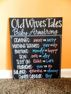 "Hand Painted ""Old Wives Tales"" Chalkboard Sign, Baby Shower Gender Reveal Sign, by ArtByGillian"
