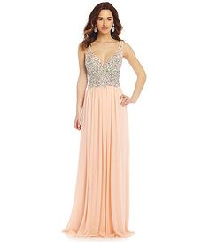 JVN by Jovani Stone Encrusted Bodice Gown