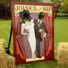 Free standing hand painted head in hole board. Classic wedding 'joined at the hip' design.