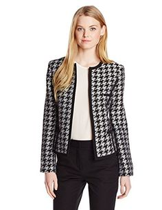 Kasper Women& Houndstooth Flyaway Suit Jacket with Contrast Piping Blazer Outfits, Blazer Fashion, Casual Outfits, Posh Clothing, Tweed Jacket, Suit Jacket, Professional Outfits, Houndstooth, Casual Looks