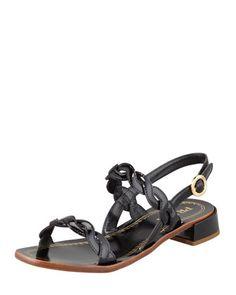 Twisted+Patent+Leather+Sandal,+Black+by+Prada+at+Bergdorf+Goodman.