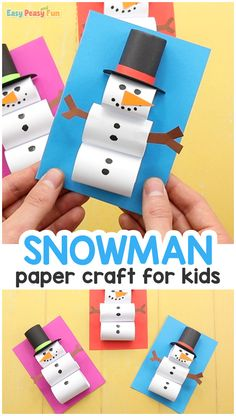 Easy Paper Snowman Craft for Kids # Easy Crafts kindergarten How to Make a Paper Snowman Craft Summer Arts And Crafts, Arts And Crafts For Adults, Arts And Crafts House, Easy Arts And Crafts, Crafts For Seniors, Arts And Crafts Projects, Christmas Crafts For Kids, Holiday Crafts, Christmas Paper