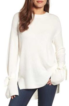 Halogen® Tie Bell Sleeve Sweater (Regular & Petite)