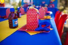Superhero Dessert Table {Boy Party Ideas} - Spaceships and Laser Beams Superhero Photo Booth, Superhero Theme Party, Dessert Table Birthday, Birthday Party Desserts, Blue Birthday Parties, Wonder Woman Party, Superman Birthday, Baby Boy Shower, Party Ideas