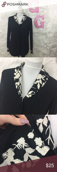 Soma Black Button Down White Floral Embroidered Soma Black Button Down Blouse W/ White Floral Embroidered Collar Women's Size Small  Size-Small Bust-open front,can be buttoned Length-25 inches Sleeve length-23 inches  SMOKE FREE HOME! Soma Intimates & Sleepwear Pajamas