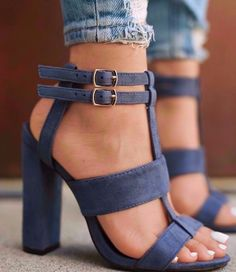 Stacked Heel Summer Sandal (Blue)