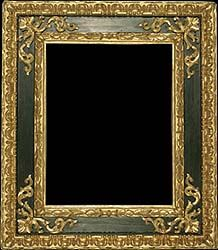 Renaissance antique picture frame carved, black painted and gilded - 16th century