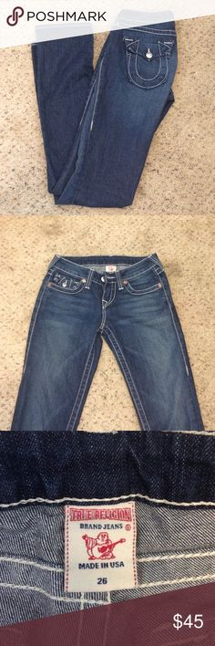 NWOT true religion jeans size 26 Straight leg true religion jeans size 26 inseam 31, never been worn. Friend gave them to me but are unfortunately too small. True Religion Jeans Straight Leg