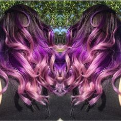 Violet Purple and Pink color melt by Jessica Raines Ombre Balayage Purple hair Violet Hair PInk Hair Mermaid Hair fb.com/hotbeautymagazine