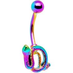 Rainbow Electro Titanium Coiled Snake Belly Ring | Body Candy Body Jewelry