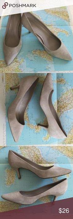 Elie Tahari Suede Kitten Heels - 39 A few faint areas of discoloration as shown in photos but overall VERY good condition. Color best described as nude. Beautiful on. Elie Tahari Shoes Heels