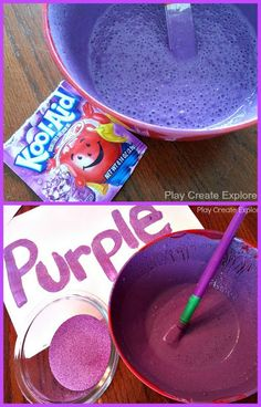 It was kind of a happy accident in which the ingredients were all just kind of sitting right beside each other and I decided to mix them together. We were just going to finger paint with purple paint, then I had the Kool-aid out from a few of our other activities from Purple Week so I mixed that in with the paint, and then I saw that our purple sand sensory bin was close by so I grabbed some sand and mixed it in as well. The result was fantastic!