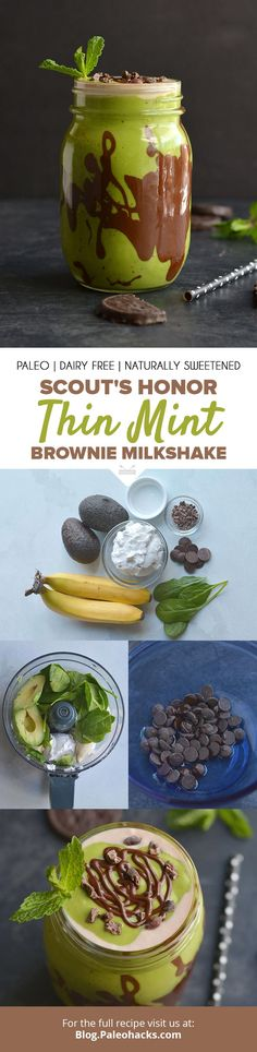 Stick your straw in this Thin Mint Brownie Milkshake that tastes just like the cookie – Scout's Honor! Get the full recipe here: http://paleo.co/thinmintmilkshake