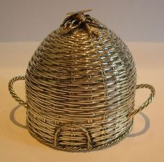 Stunning Victorian Honey Pot With Figural Bee; Basket Weave Silver Plate