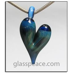 Blue Glass Heart Pendant boro lampwork necklace focal by Glass Peace $18.00