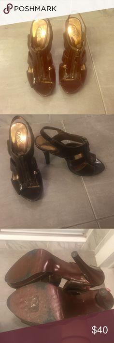 Brown patent heels Brown patent heels. Elastic strap. 4inch heel Carlos Santana Shoes Heels