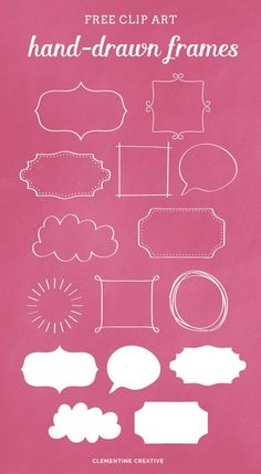 Hand-drawn Frames {Free Clip Art} Drawing Frames, Free Frames, Free Hand Drawing, Freebies, Sketch Notes, Frame Clipart, Cool Fonts, Scrapbook Pages, Scrapbook Designs