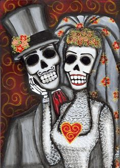 till death do us part – BORED Day Of The Dead Drawing, Day Of The Dead Skull, Sugar Skull Girl, Sugar Skulls, Mexico Day Of The Dead, Sweet Drawings, Skeleton Art, Till Death, Mexican Art