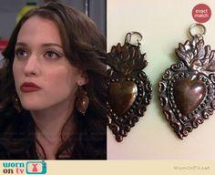 Vintage Sacred Heart Earrings worn by Kat Dennings on 2 Broke Girls Black Earrings, Girls Earrings, Heart Earrings, Drop Earrings, Girls Jewelry, Jewelry Box, Jewellery, Two Broke Girl, Kat Dennings