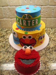Sesame Steet First Birthday I Did This Cake For My Nephews The Is Done In Buttercream With Fondant Accents
