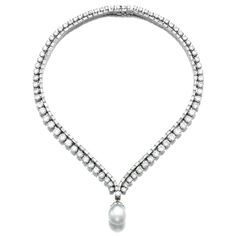 Cultured pearl and diamond necklace   lot   Sotheby's