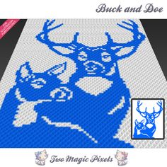 Buck and Doe crochet blanket pattern; knitting, cross stitch graph; pdf download; deer wild nature; no written counts or row-by-row instruct by TwoMagicPixels, $1.89 USD