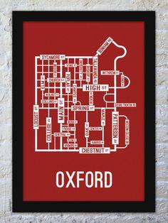 Oxford, Ohio Street Map Print