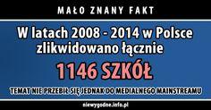 Mało znany fakt: W latach 2008 - 2014 w Polsce zlikwidowano łącznie 1146 szkół. Temat nie przebił się jednak do medialnego mainstreamu