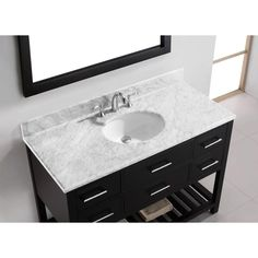 Virtu USA Caroline Estate 48 in. W x 36 in. H Vanity with Marble Vanity Top in Carrara White with White Basin and Mirror