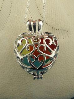 Rainbow Sea Glass Necklace Heart Locket RARE by seaglassgems4you, $48.00