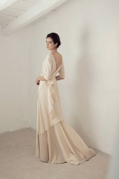 Wedding Dress Ideas, Designers & Inspiration : Yu dress from Cortana wedding dresses Bridal Collection – Blush silk georgette dress with length sleeves, a cross at the front tying at … Wedding Dress Trends, Bohemian Wedding Dresses, Boho Dress, Bohemian Bride, Japanese Wedding Dresses, Bohemian Weddings, Indian Weddings, Bridal Skirts, Bridal Gowns