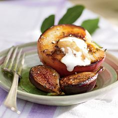 Seared figs & white peaches with balsamic reduction www.dessertsmagazine.com