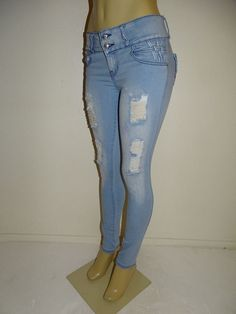 M.Michel Push up Ripped Butt Lift Levanta Cola Colombian Skinny Light Blue Jeans #MMICHEL #SlimSkinny