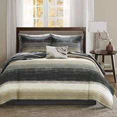 Black White Taupe Watercolor Coverlet Twin Set Brown Abstract Bedding Artistic Themed Art Horizontal Stripes Dark Green Tan Water Color Pattern Paint