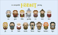This pattern features the 15 main characters from the film The Hobbit: An Unexpected Journey: Oin, Gloin, Bilbo, Gandalf, Ori, Nori, Dori, Fili, Kili, Balin, Dwalin, Thorin, Bofur, Bombur and Bifur. <br><br> This listings is for a virtual pattern that y