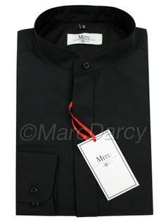 MENS PLAIN BLACK GRANDAD COLLAR SHIRT