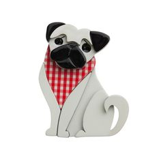 """Limited Edition Adoring Polly Pug brooch in white and red. """"Forget those balls of fluff... primped and preened as they are. Hair is officially out... NOW it's all about the eyes!"""""""