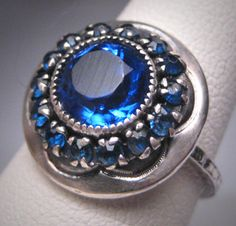 Antique Sapphire Ring Vintage Victorian Art Deco Wedding Engagement 1920s.  Purchase Now at Aawsomblei Antique Jewelry.