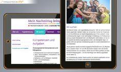 Der gesamte Webauftritt wurde für die Wiener Kinder- und Jugendbetreuung in Form von responsive Webdesign gestaltet. Wiener Kinder- und Jugendbetreuung [Responsive: Tablets] © echonet communication GmbH