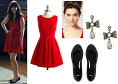 Zooey Deschanel, red dress outfit