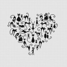 Heart and Cats 3 cross stitch pattern Instant by CrossStitchForYou