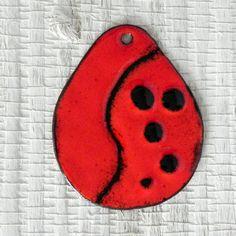 Kiln Fired Red Enameled Copper Pendant - Teardrop Red Enamel Pendant - E20