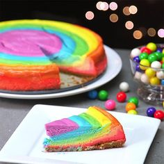 This one is so easy to whip together! Rainbow Cheesecake Is a Work of Art