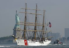 NYC 2012 Fleet Week Parade, The US Coast Guard Tall Ship Eagle,   The three-masted barque was built in 1936 as a German training ship. It's now used to train cadets at the Coast Guard Academy in Connecticut.
