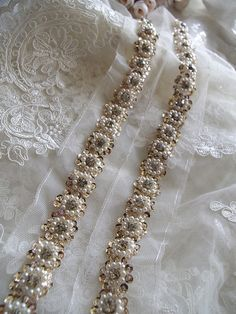 beaded lace trim bridal sash beaded jewelry Trim Pearl by LaceFun Zardozi Embroidery, Pearl Embroidery, Embroidery Fashion, Beaded Trim, Beaded Lace, Lace Trim, Beaded Jewelry, Fine Jewelry, Bridal Jewelry Vintage