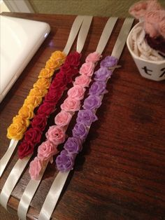 DIY floral headbands, or these could be used to wrap around some fabric or dress to create beautiful empire waist