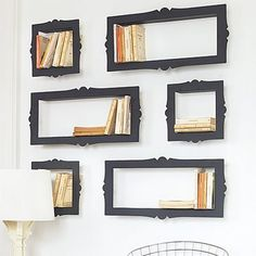 frame book shelves... what an idea!  I could make this with shadow boxes (or if that is too shallow, make a box) and decorative trim or mouldings.   Website is http://www.grahamandgreen.co.uk/baroque-bookshelves-2