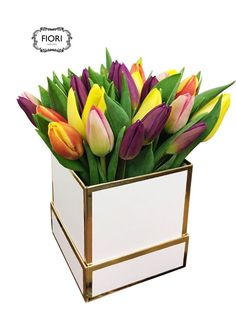 Tulip Abundance in a Box A full abundance of tulips presented in a black or white luxe box filled to the rim. The everlasting promise of spring. Love Mom, Spring Flowers, Abundance, Presents, Seasons, Box, Collection, Black, Tulips