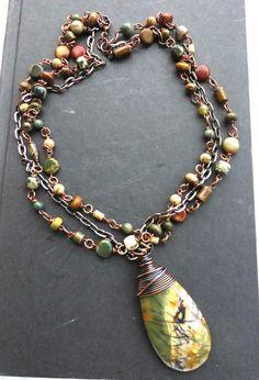 Jasper gemstone and copper necklace jewelry. Wire wrapped stone jewelry…
